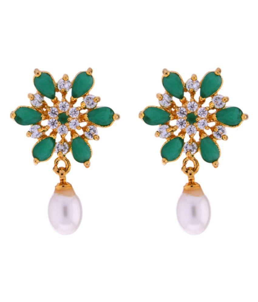 Stylish & Trendy Green Designer Earrings By KNK Jewellery