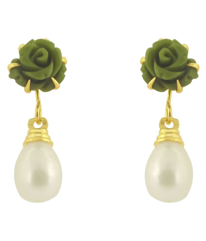 Stylish & Trendy Green Rose Freshwater Pearl Hangings By KNK Jewellery