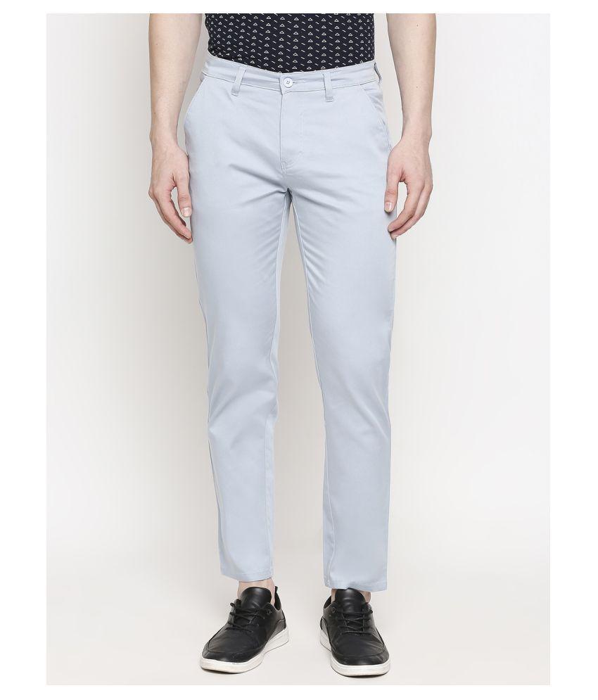 Solemio Blue Slim -Fit Flat Chinos