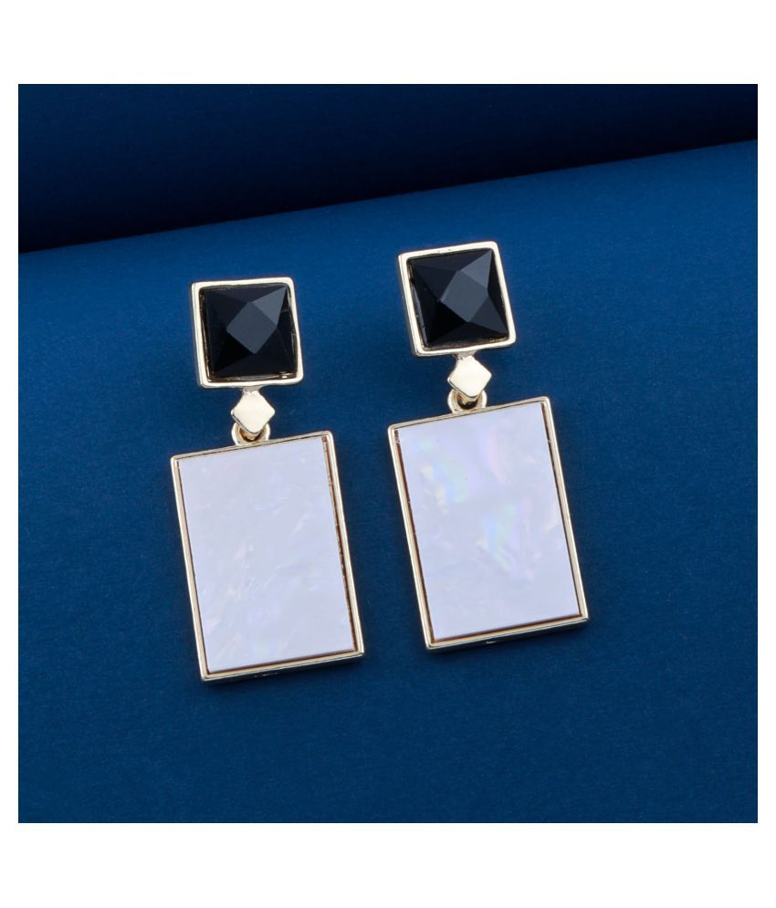 Black and White Colour Blocked Designer Party Wear Earring For Girls And Women Jewellery