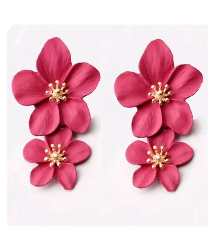 Bohemia Double Flower Metal Drop Earring