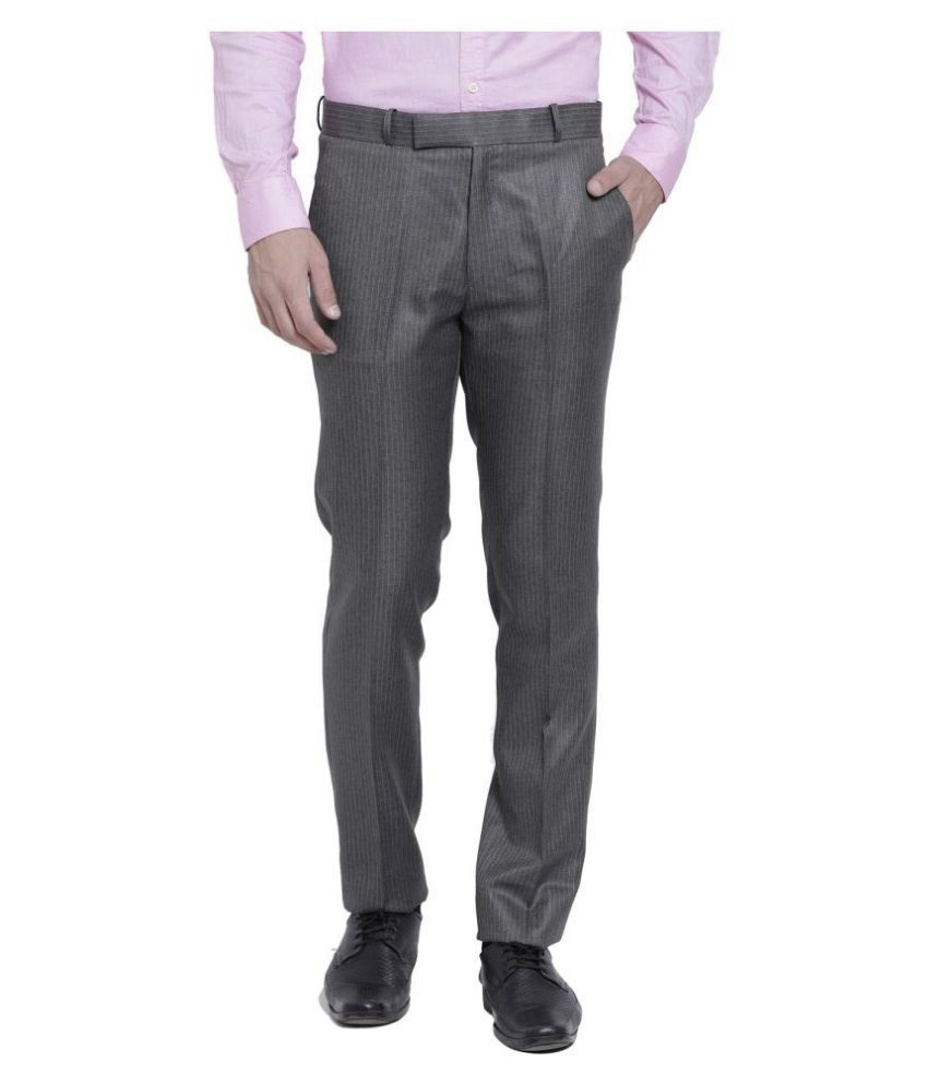 RG Designers Brown Slim -Fit Flat Trousers