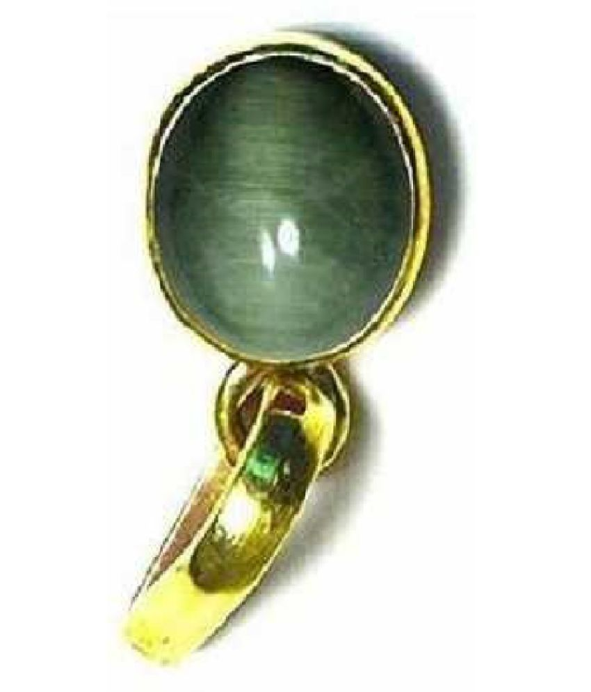 5.25 Ratti Cats Eye Pendent Ashthadhatu with Gold Plated For Men & Women… Gold-plated Cat's Eye  Pendant by Kundli Gems