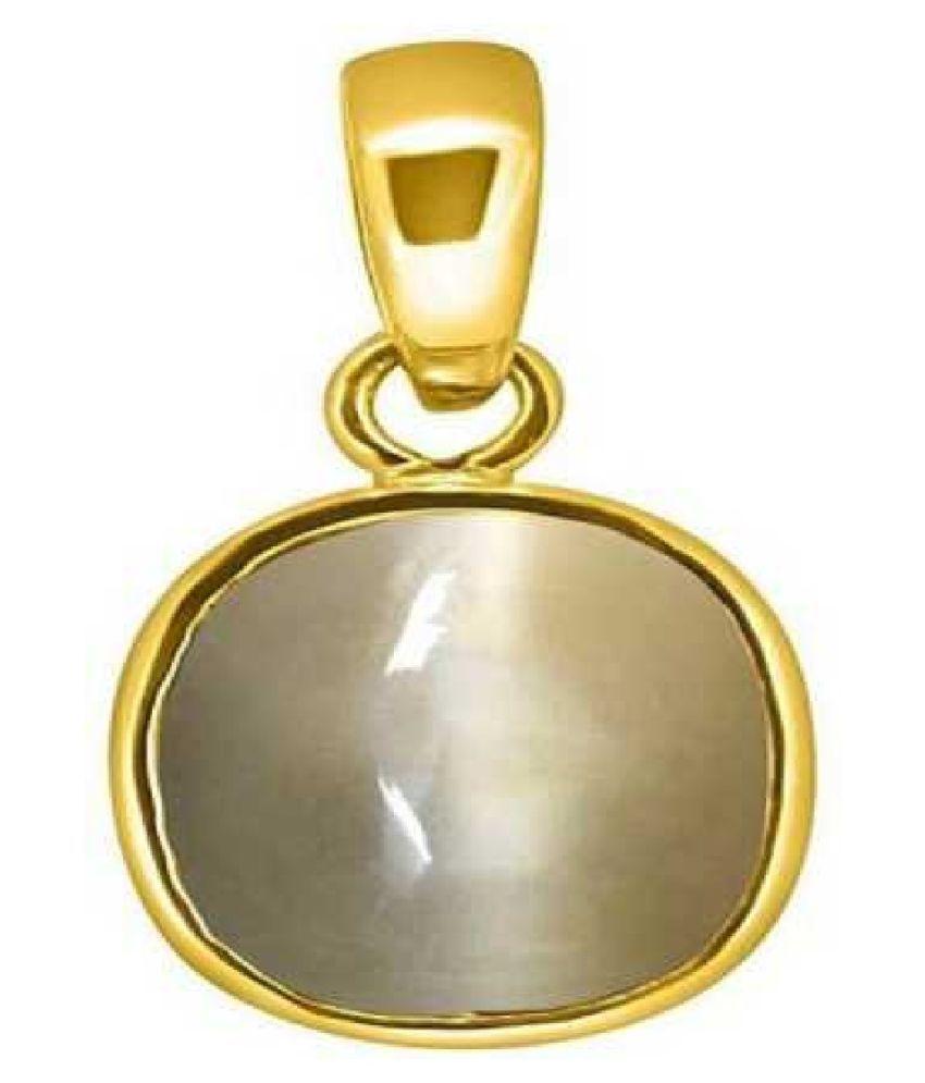 5.5 ratti ashth dhaAtu Gold Plated for Men & Women  Cat's Eye Metal Pendant by Kundli Gems
