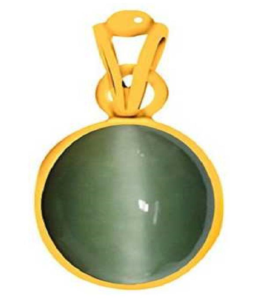 CAT EYE PENDANT Gold-plated Cat's Eye Stone Pendant by Kundli Gems