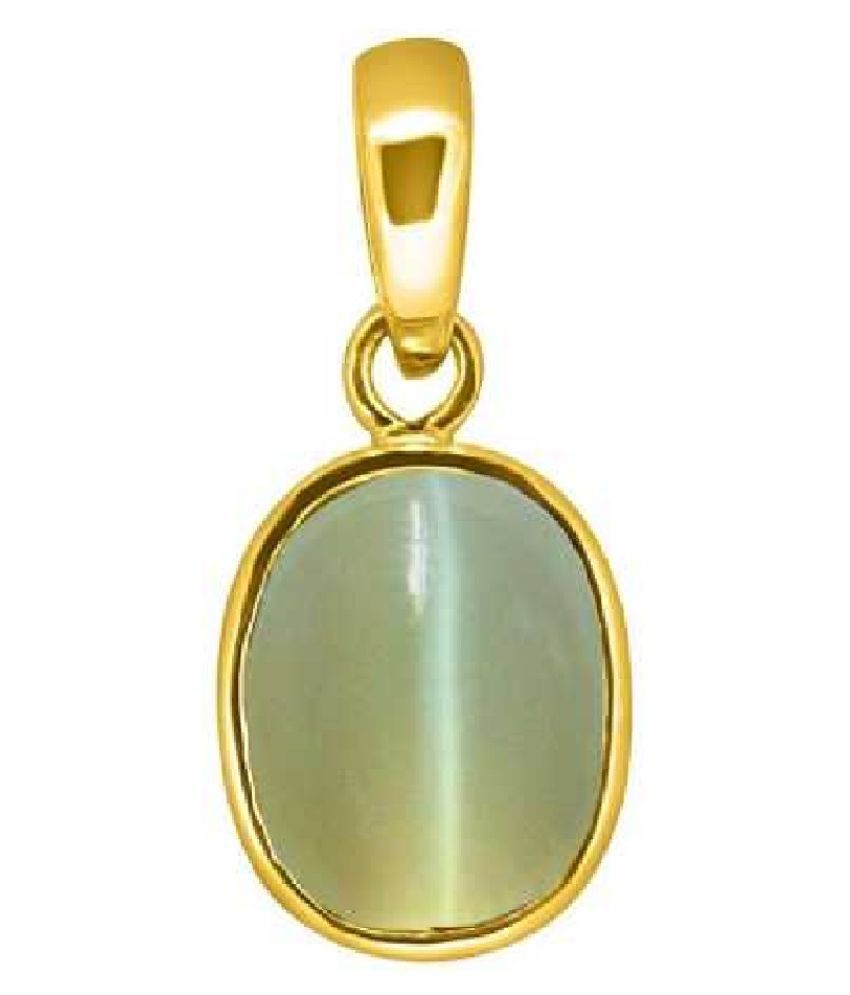 Kundli Gems - 5.25 Ratti Cats Eye Pendent panchdhatu with Gold Plated For Men & Women… Gold-plated Cat's Eye Metal Pendant