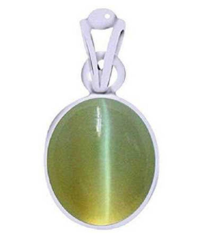 Kundli Gems - Cats eye 5.5 carat Stone Pendant Natural Cats Eye stone Certified & Astrological purpose for men & women Sterling Silver Cat's Eye Stone Pendant