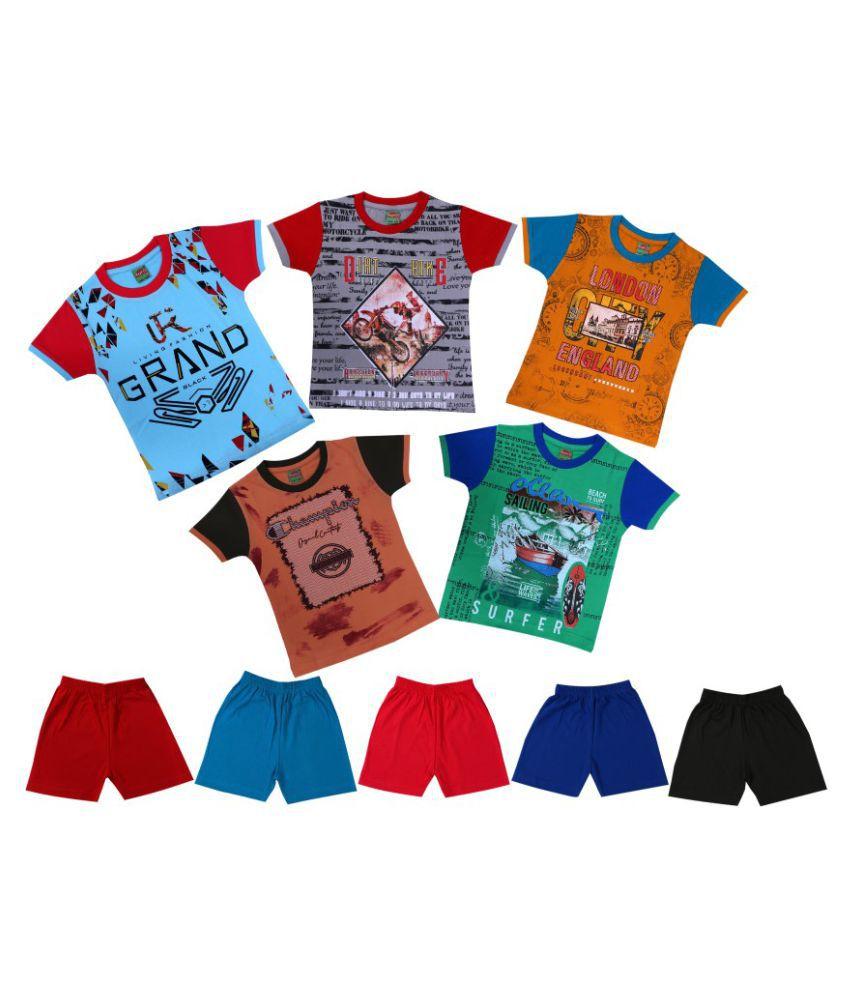 TAVASU Boys Printed Top & Bottom Set Any 3 Colours  (Pack of 2)5-6 Years