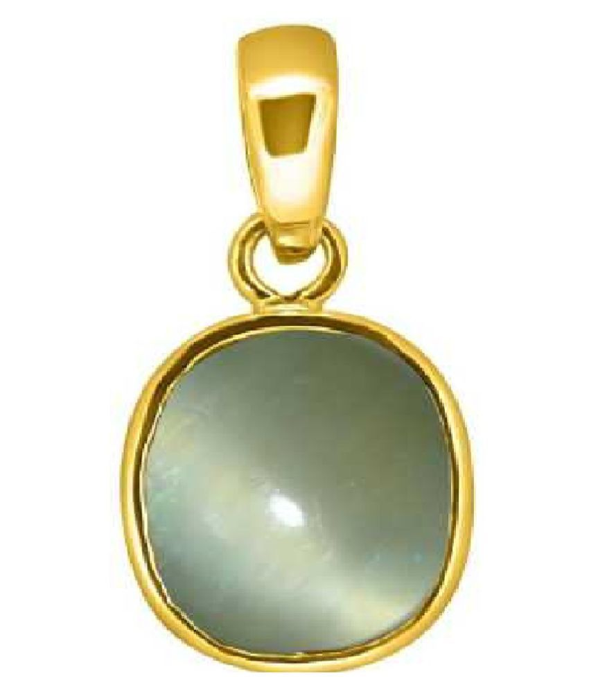 7.5 ratti Cats eye Stone Pendant Natural Cats Eye stone Certified & Astrological purpose for men & women Gold Plated Cat's Eye Stone Pendant by Kundli Gems
