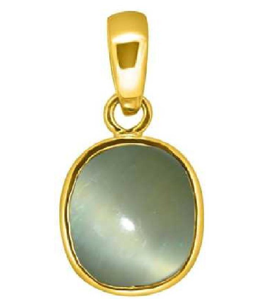 7.5 ratti ashth dhaAtu Gold Plated for Men & Women  Cat's Eye Metal Pendant by Kundli Gems
