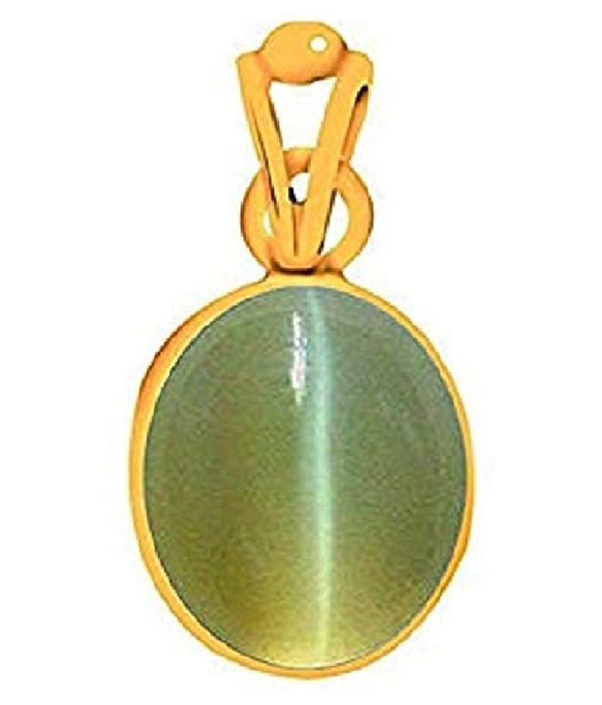 8.25 ratti ashth dhaAtu Gold Plated for Men & Women  Cat's Eye Metal Pendant by Kundli Gems