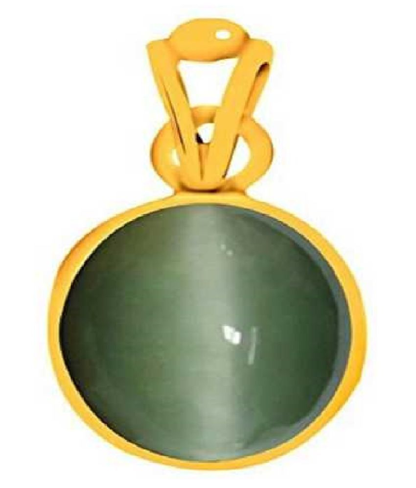 Cats eye 7.25 ratti  Stone Pendant Natural Cats Eye stone Certified & Astrological purpose for men & women    Gold Plated Cat's Eye Stone Pendant by Kundli Gems