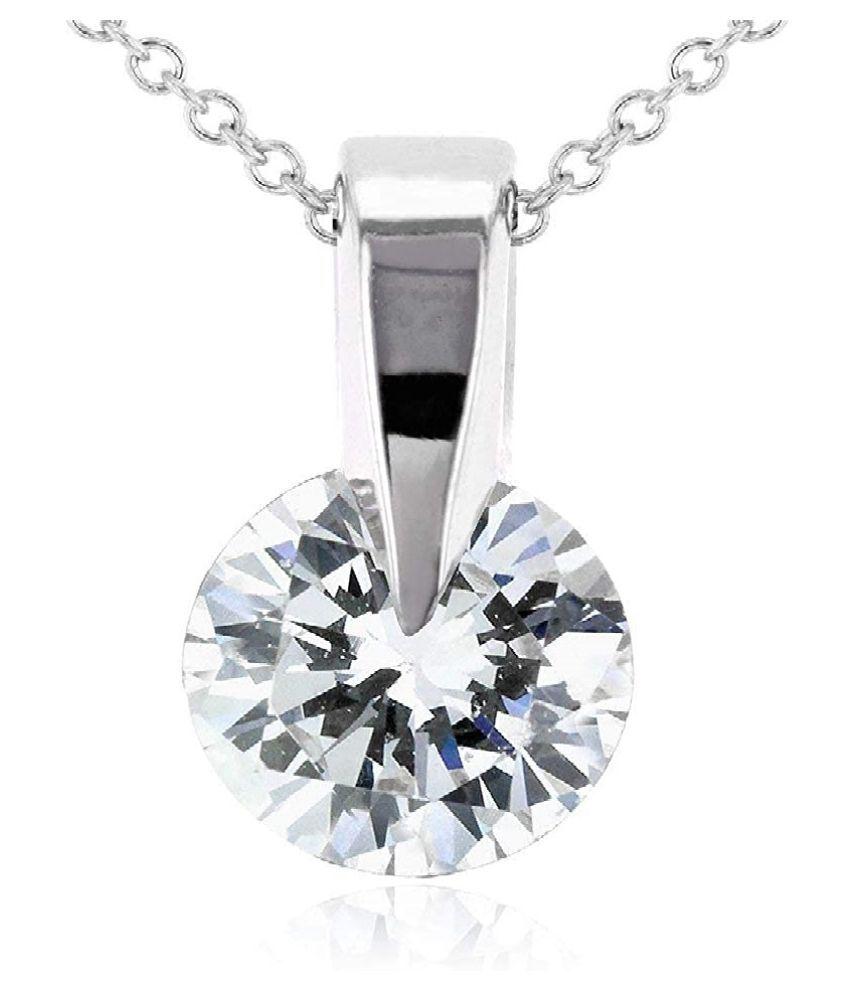 Certified  Silver American Diamond  Pendant by KUNDLI GEMS
