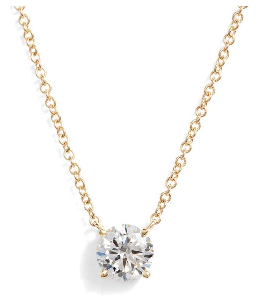 Gold Plated Original American Diamond Pendant Lab Certified  by KUNDLI GEMS\n