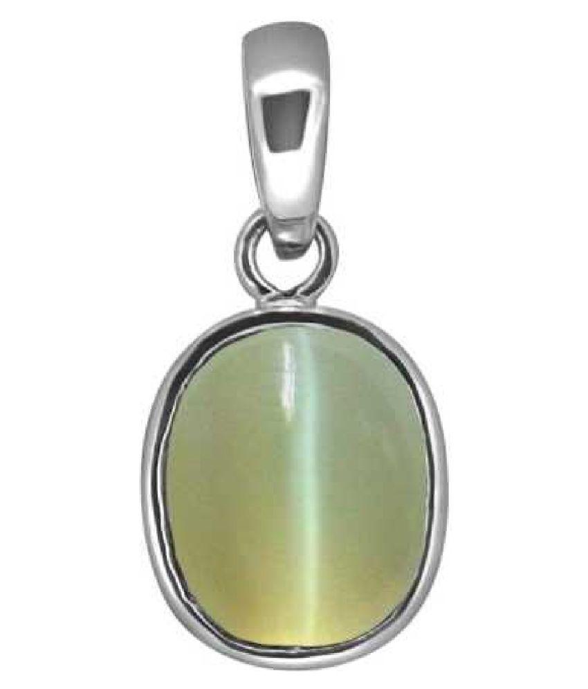 Kundli Gems - 8 Ratti Cat's Eye Gemstone in Panchdhatu Sterling Silver Cat's Eye   Stone Pendant