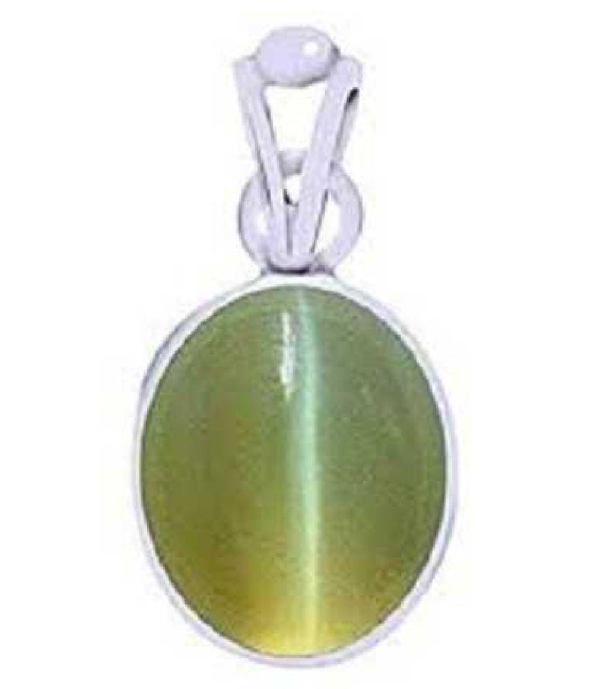 Kundli Gems - Cats eye 8 carat Stone Pendant Natural Cats Eye stone Certified & Astrological purpose for men & women Silver Cat's Eye Stone Pendant