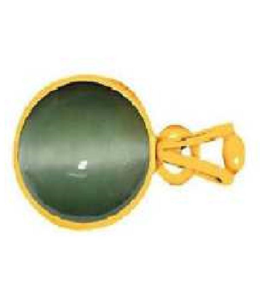 Kundli Gems - Cats eye 8 carat Stone Pendant Natural Cats Eye stone Certified & Astrological purpose for men & women Gold-plated Cat's Eye Stone Pendant