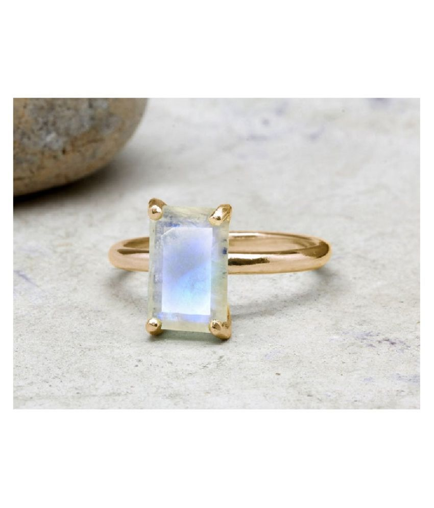 10 Ratti Gold Plated Original MOONSTONE  Ring Lab Certified Stone by Kundli Gems\n
