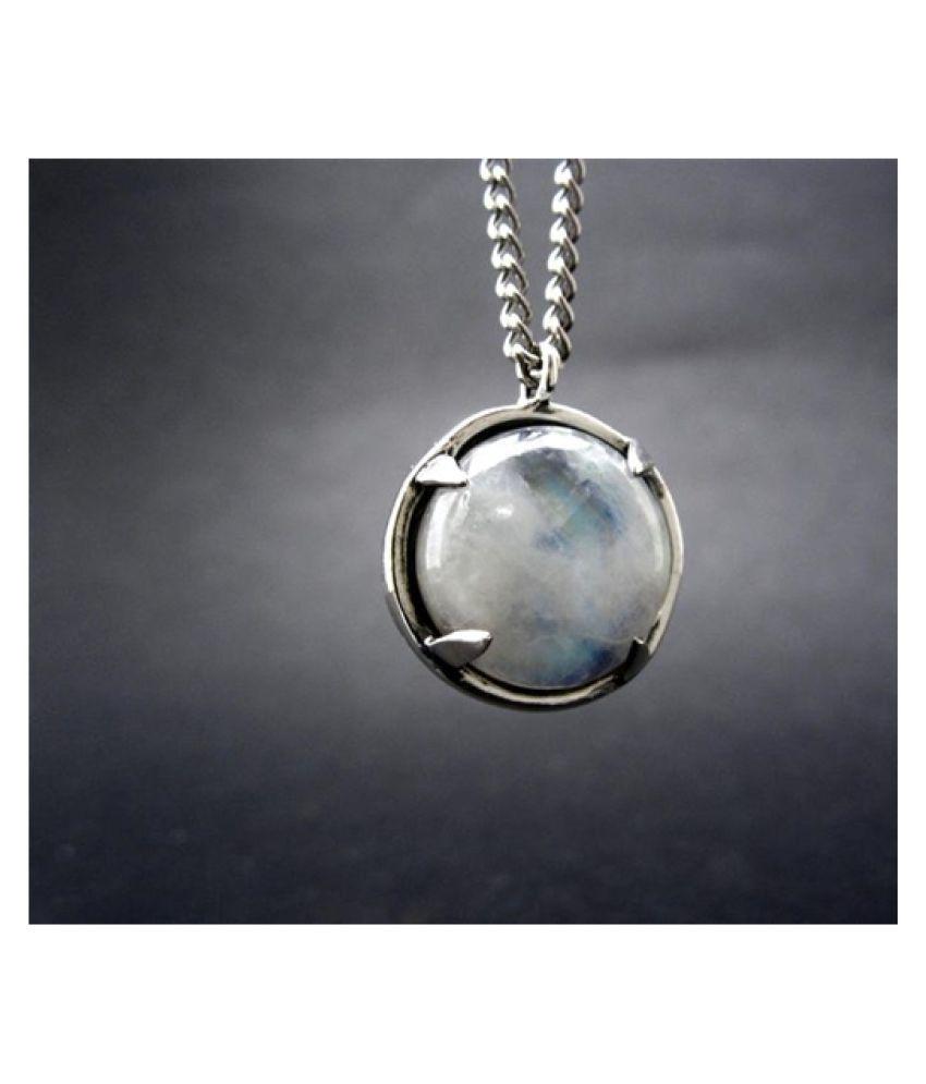 4.25 Ratti Natural Certified MOONSTONE Gemstone Panchdhatu silver Pendant by Kundli Gems