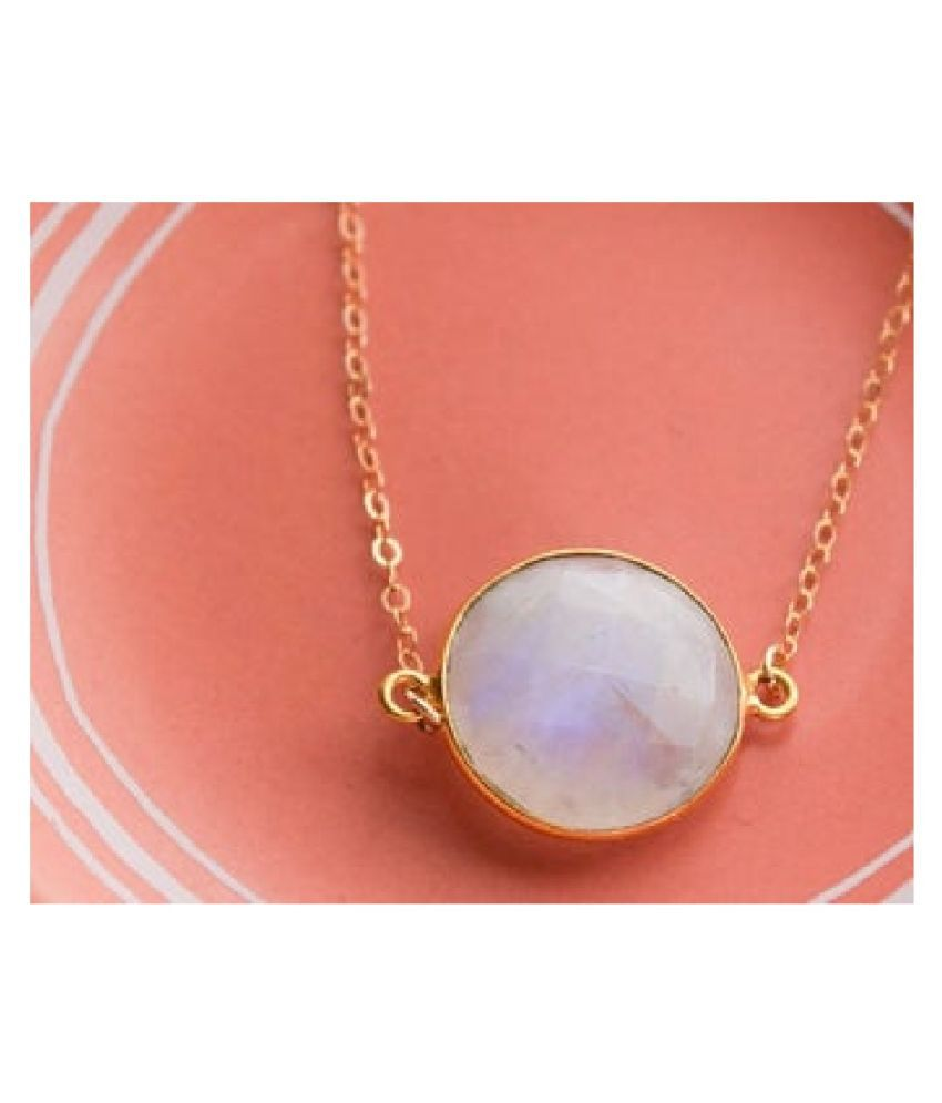 6 Ratti MOONSTONE  pure Gold Plated Pendant for Unisex by  Kundli Gems\n