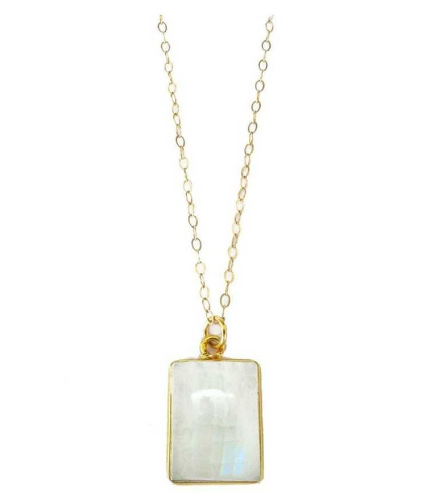 6 ratti Gold Plated  MOONSTONE  Pendant for unisex by  Kundli Gems\n