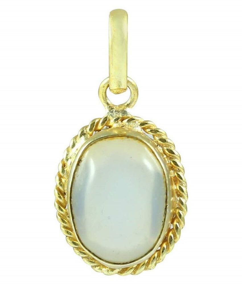 Natural MOONSTONE Stone 2.5 Ratti 100 % Certified Gold Plated Pendant By Kundli Gems