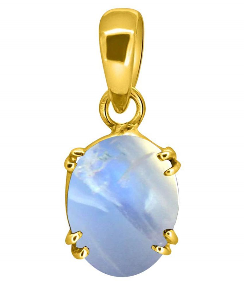 Original Natural Certified MOONSTONE 3.25 Carat  gold plated Pendantby Kundli Gems