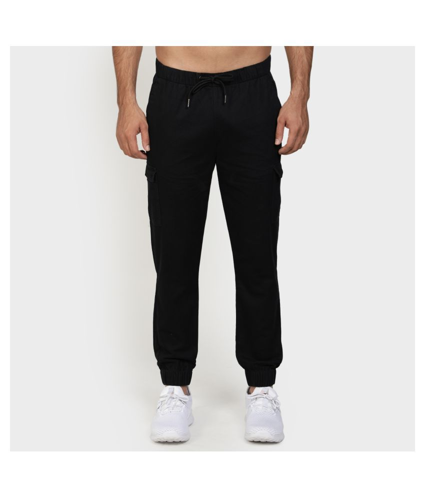 Red Tape Black Regular -Fit Flat Joggers