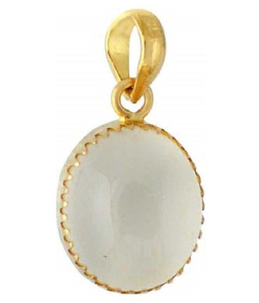 6.5 Carat 100 Original Certified Stone MOONSTONE Gold Plated Pendant By Kundli Gems