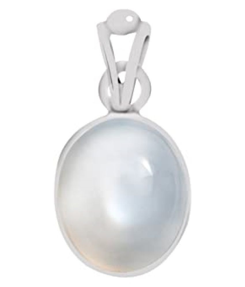 8.5 Carat Natural Stone Silver MOONSTONE  Pendant for unisex by Kundli Gems\n