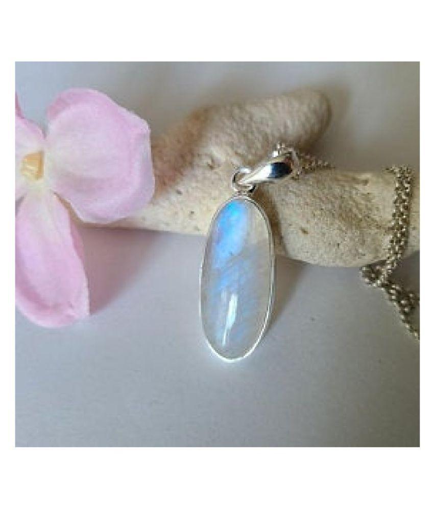 MOONSTONE  Pendant 8 Ratti 100% Original silver MOONSTONE  Stone by Kundli Gems