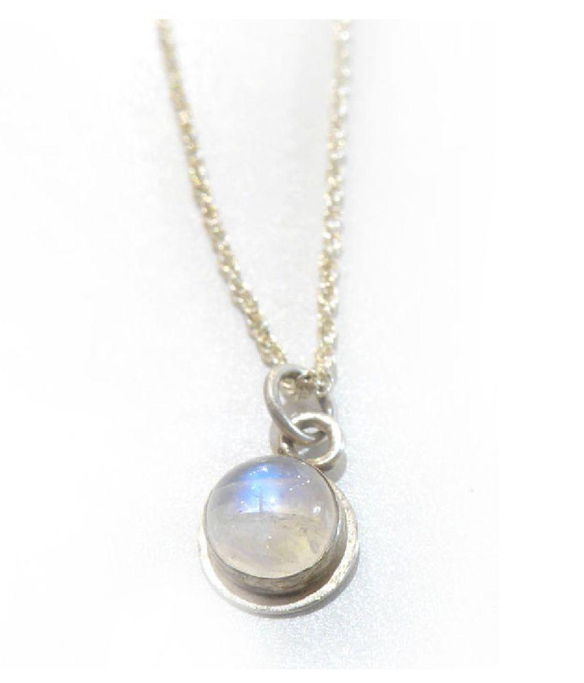 Natural & Unheated Stone 9 Ratti MOONSTONE silver Pendant by Kundli Gems