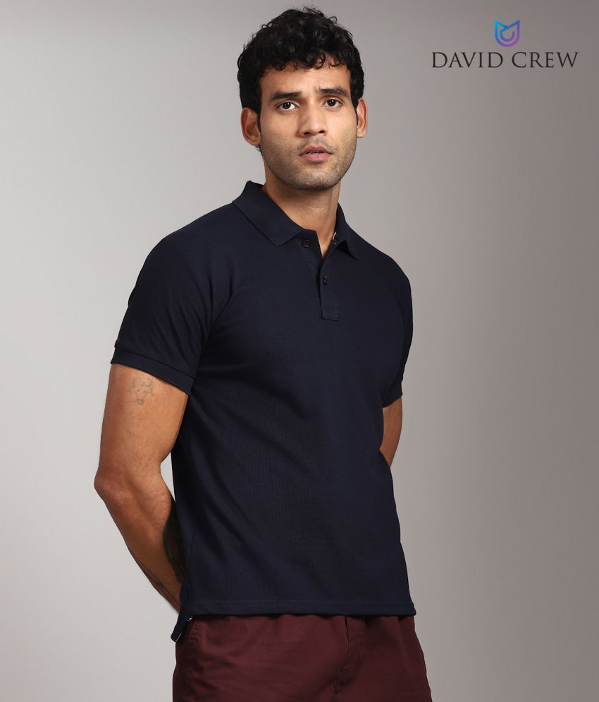 Navy Cotton Blend Solid Polo T-Shirt by David Crew for Men