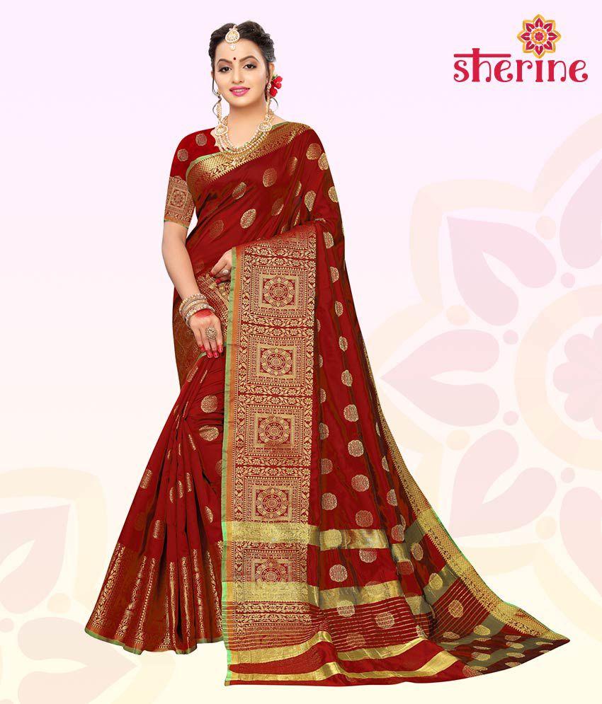 Sherine Maroon Printed Saree with Blouse Piece