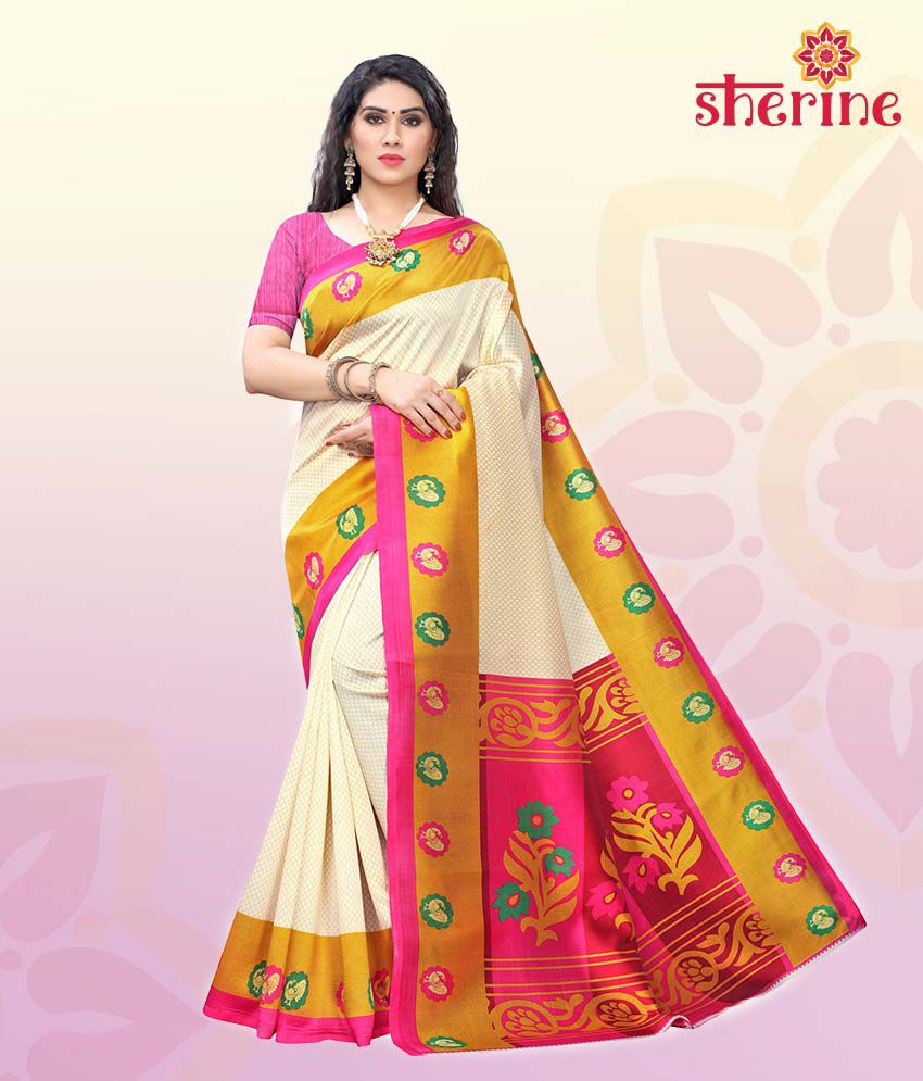 Sherine Pink, White, Yellow Printed Saree with Blouse Piece