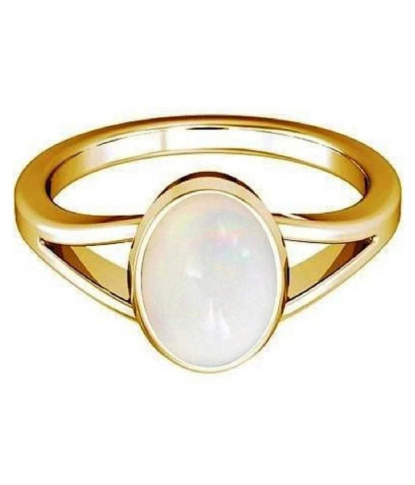 7.25 Ratti Lab Certified Stone  Original OPAL  Gold Plated Ring for unisex by Kundli Gems\n