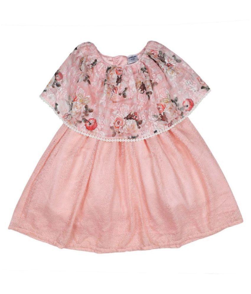 Doodle Peach Color Short Sleeve Dress for Girls