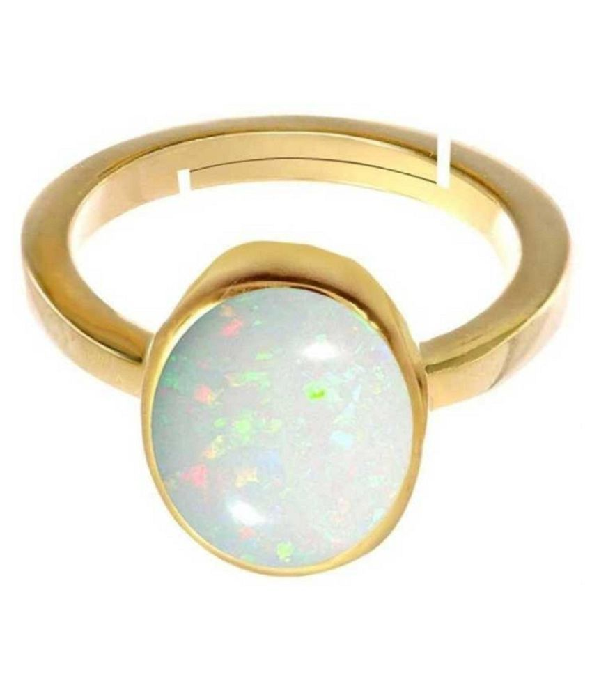 OPAL  original & lab certified 3.25 ratti Gold Plated Ring for astrological purpose by Kundli Gems\n