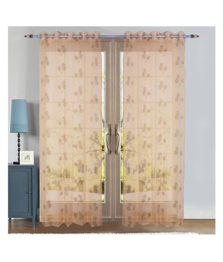 PardaOnline Single Window Semi-Transparent Eyelet Net Curtains Beige