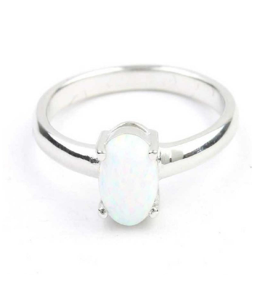 12.25 ratti stone pure OPAL  Silver Ring for unisex by  Kundli Gems\n