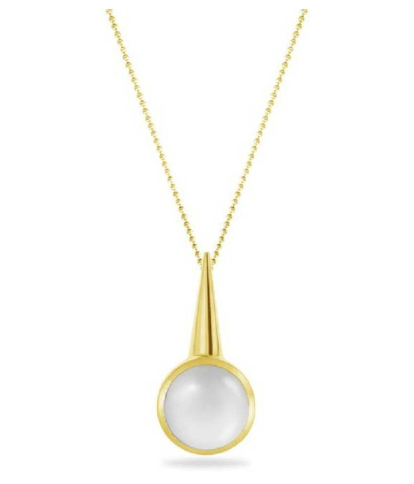 5.5 Ratti Lab Certified Stone 100% Original MOONSTONE  Gold Plated Pendant for unisex by  Ratan Bazaar\n