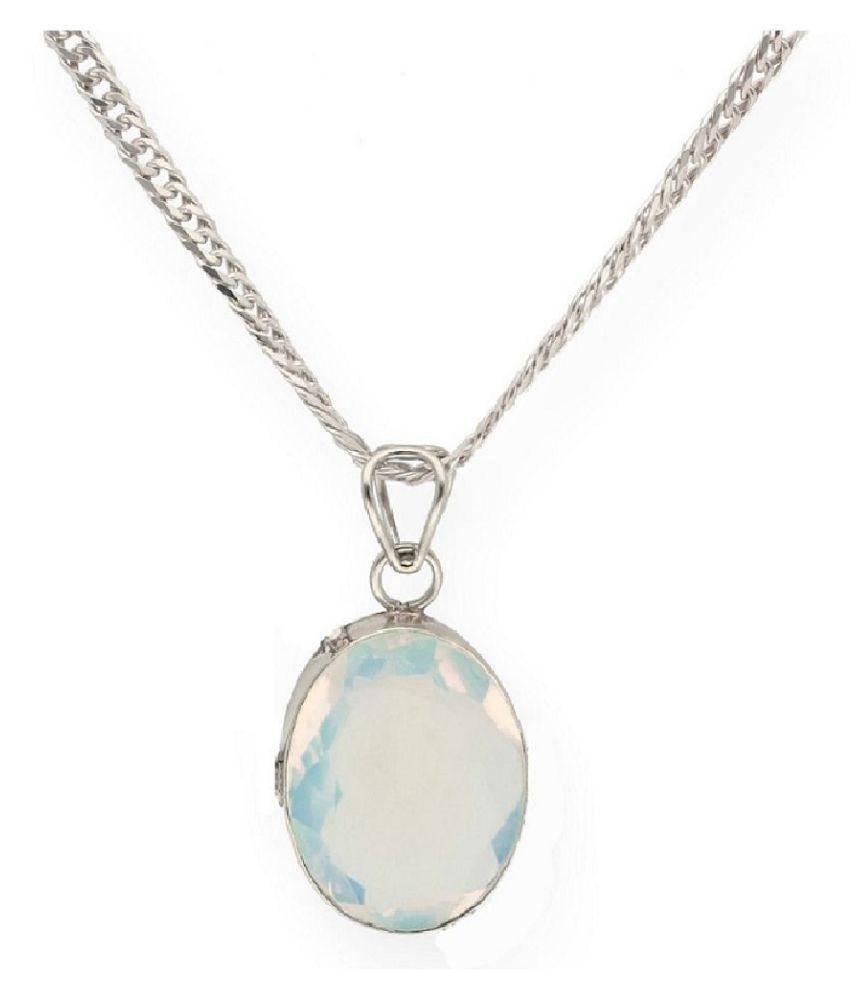 8 Ratti Lab Certified Stone 100% Original MOONSTONE  silver Pendant for unisex by  Ratan Bazaar\n