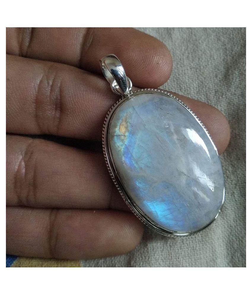 9 ratti stone pure MOONSTONE  silver Pendant for unisex by  Ratan Bazaar\n