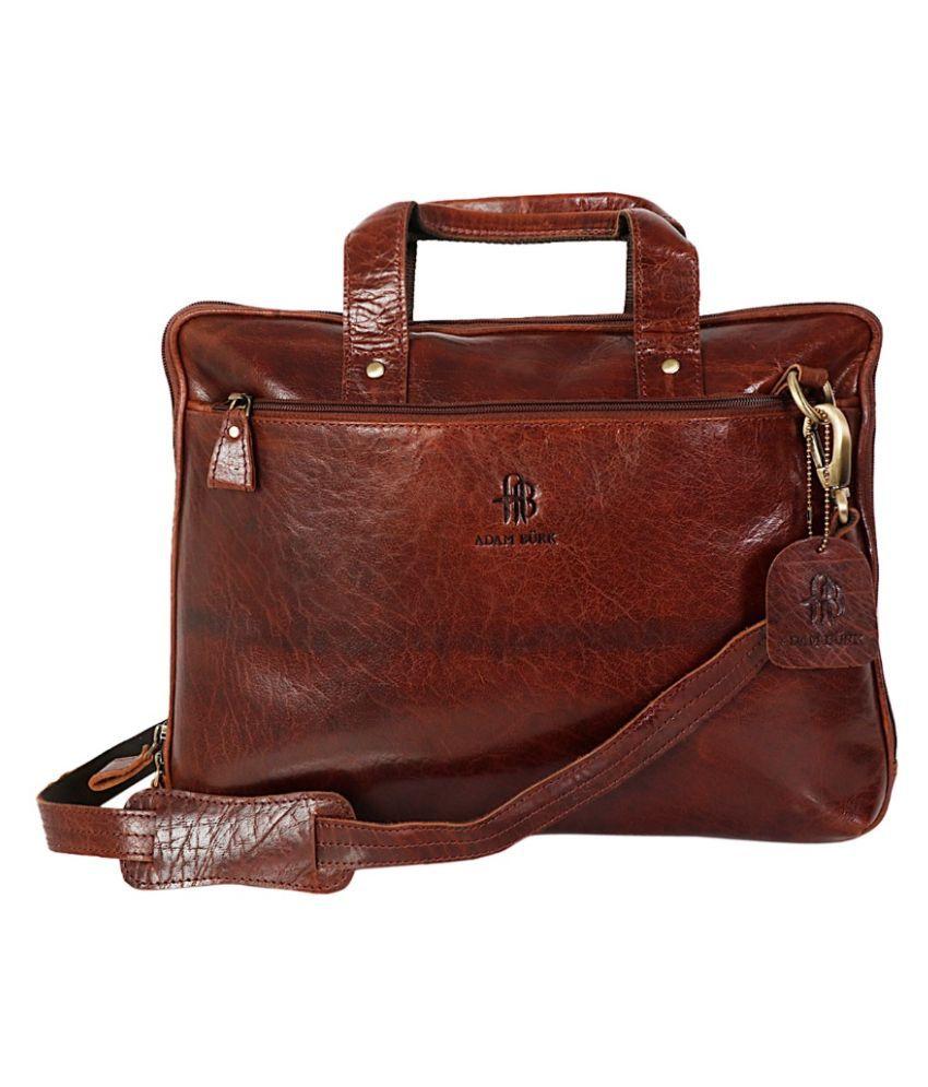 ADAM BURK Brown Leather Office Bag