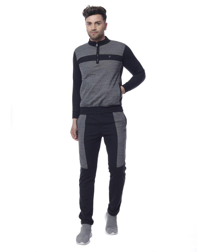 Piere Carlo Men Solid Mock Collar Regular Fit Winter Tracksuit Black Size XL
