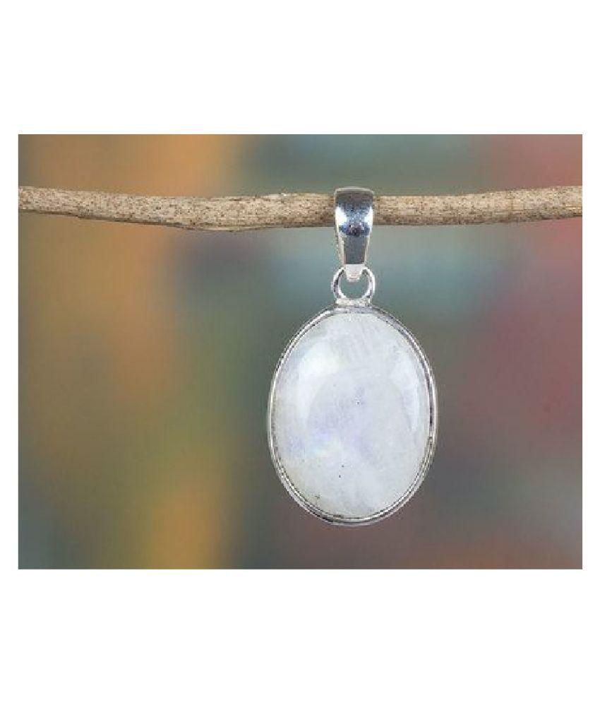 silver MOONSTONE  Stone Pendant 8.5 carat by  Ratan Bazaar