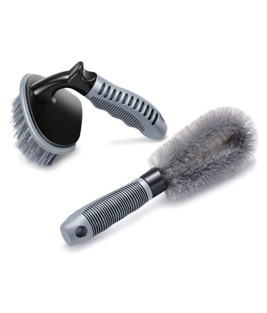 DELHIDEALS Car Wheel Rim Cleaning Combo Pack of 1 x Alloy Wheel Cleaning Brush and 1 x Tyre Tire Brush Washing Tool   Rim Cleaner for Your Car, Motorcycle, Bicycle, Truck, Tempo, Auto Rickshaw