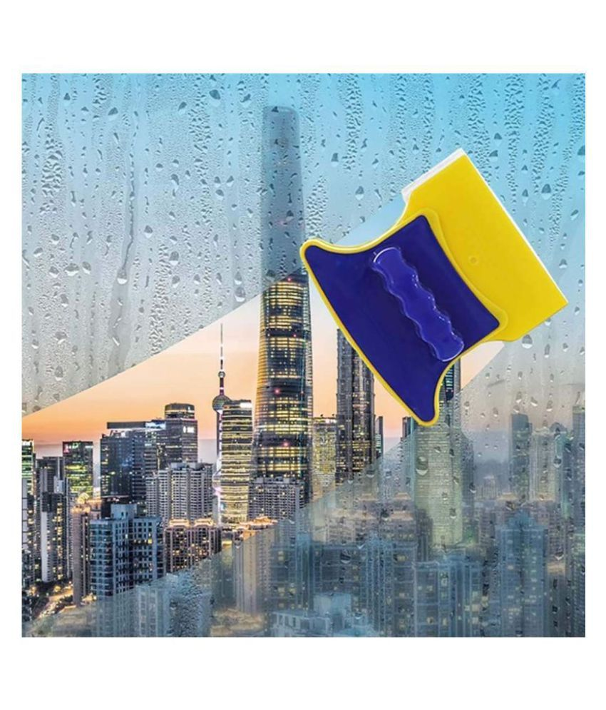Gatih Magnetic Window Cleaner Double-Side Glazed Two Sided Glass Cleaner Wiper with 2 Extra Cleaning Cotton Cleaner Squeegee Washing Equipment Household Cleaner