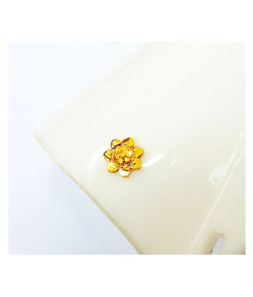 Golden Nose Ring Floral Nose Pin Women & Girl's Ethnic Jewelry