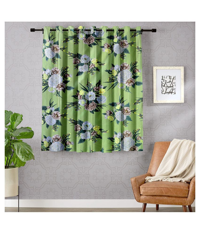 Hometique Single Window Semi-Transparent Eyelet Polyester Curtains Green